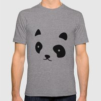 Minimalistic Panda Face Mens Fitted Tee Athletic Grey SMALL