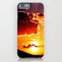 iPhone & iPod Case featuring Cloudy colored sundown   by Pirmin Nohr