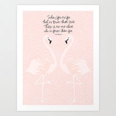 Flamingos on Pink Art Print