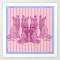 Foxes! Art Print
