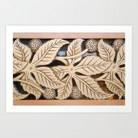 Bronze Art Deco Leaves Art Print