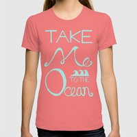 Take Me To The Ocean Womens Fitted Tee Pomegranate SMALL
