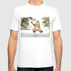 Mr.Brown is playing with the squirrel SMALL White Mens Fitted Tee