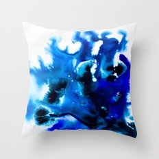 Paint 8 abstract indigo watercolor painting minimal modern canvas art affordable home decor trendy Throw Pillow