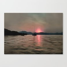 Sunset Shores In Pink And Grey Canvas Print
