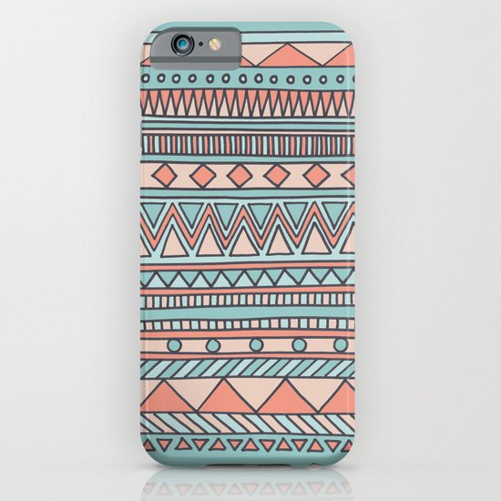 Tribal #4 (Coral/Aqua) iPhone & iPod Case