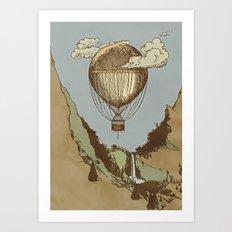 Around the world the incredible Steamballoon Art Print