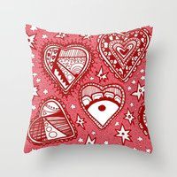 Love Hearts Pink Throw Pillow