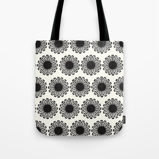 Vintage Flower_Black Tote Bag