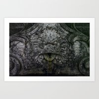 Rose Garden Fountain  Art Print