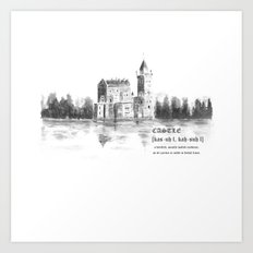 castle by the lake  Art Print