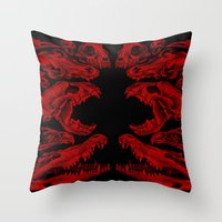 Carnivores In Red Throw Pillow