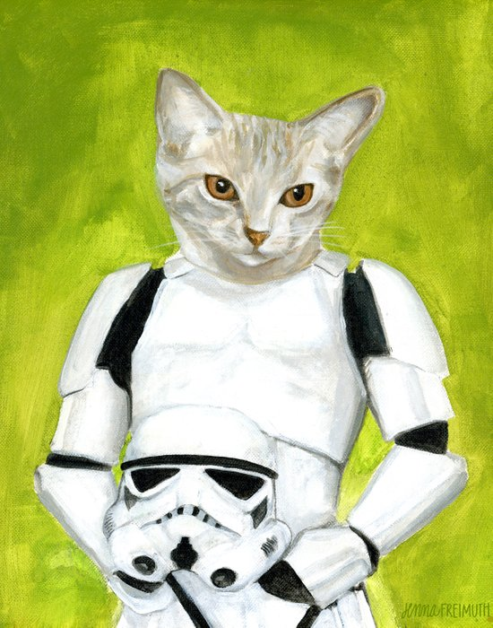 Poopy the Kitty Storm Trooper  Art Print