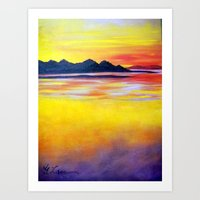 Landscape Painting  - Spectacular Sunset in Baja California Art Print