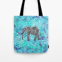 Mandala paisley boho elephant blue turquoise watercolor illustration Tote Bag