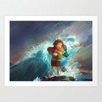 Girl In The Sea Art Print
