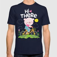 Pig On A Bike Mens Fitted Tee Navy SMALL
