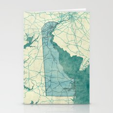 Delaware State Map Blue … Stationery Cards