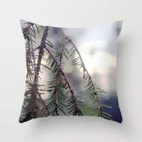 sunset in the woods. Throw Pillow