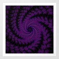 Purple Spiral Fractal De… Art Print