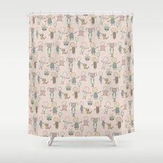 Children Playing-on Peach Shower Curtain