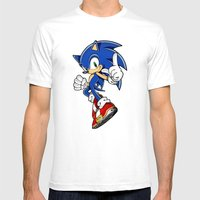 SONIC THE EDGEHOG Mens Fitted Tee White SMALL