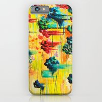 iPhone & iPod Case featuring  HERE COMES THE RAIN - Abstract Acrylic Painting Rain Storm Clouds Colorful Rainbow Modern Impasto by EbiEmporium