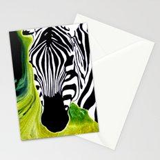 Green Black and White Zebra Stationery Cards