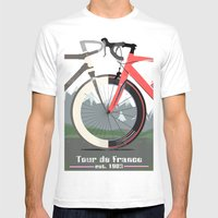 Tour De France Bicycle Mens Fitted Tee White SMALL