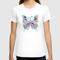Pink And Blue Watercolor… Womens Fitted Tee White SMALL