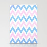 Blue Pink Textured Vintage Chevron Stationery Cards