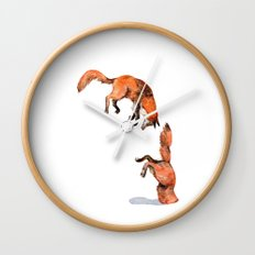 Jumping Red Fox Wall Clock