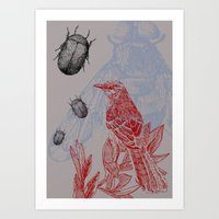 Beetles and Bird Art Print