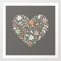 Floral Heart - In Charco… Art Print