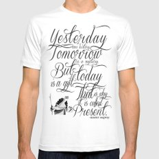 Yesterday is history. White SMALL Mens Fitted Tee