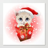 Kitten Christmas Santa W… Canvas Print