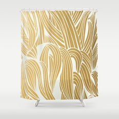 Gold & White Pattern Shower Curtain