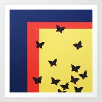 Butterfly Squares Paperc… Art Print