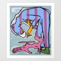 Bear Man with Pet Fledgling Art Print