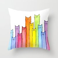 Rainbow of Cats Throw Pillow