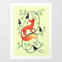 Bunnies And A Fox Art Print