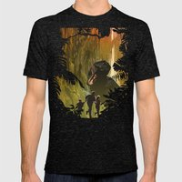 Dinosaur Poster Mens Fitted Tee Tri-Black SMALL