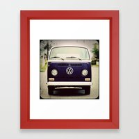 Blue VW Bus Framed Art Print