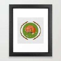sleeping mr fox Framed Art Print