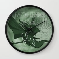 Everyone Deserves the Chance to Fly (green) Wall Clock