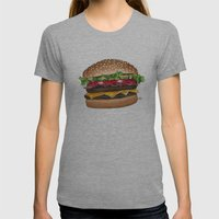 Junk Food - Burger Womens Fitted Tee Athletic Grey SMALL