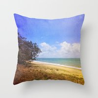 Beautiful Day by the Sea Throw Pillow