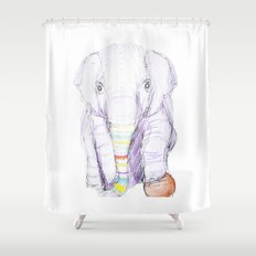 Striped Elephant Illustration Shower Curtain