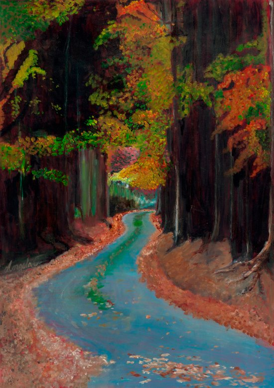 Winding Forest Road Art Print