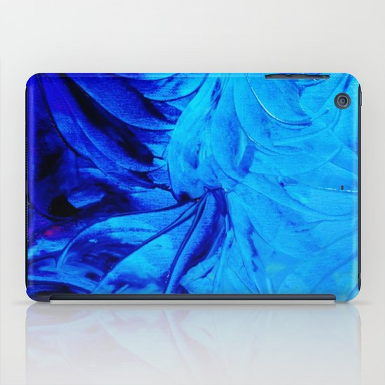 PETAL PINWHEELS - Deep Indigo Blue Royal Blue Turquoise Floral Pattern Swirls Ocean Water Flowers iPad Case